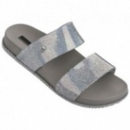 COSMIC grey and silver flat open sandals for woman