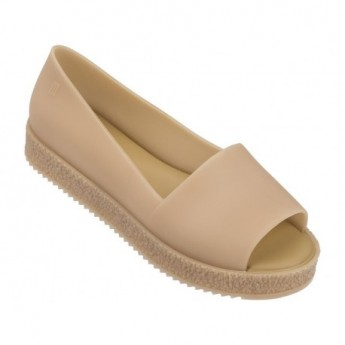 PUZZLE beige platforms open ballet flats for woman