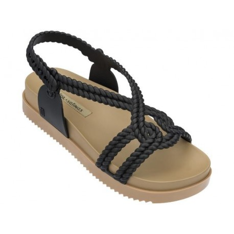 COSMIC SANDAL + SALINAS beige and black flat sandals for woman