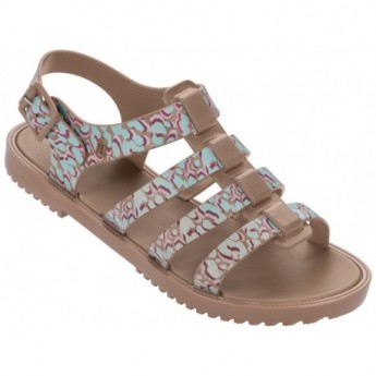 FLOX IV brown and green fantasy print flat roman sandals for woman