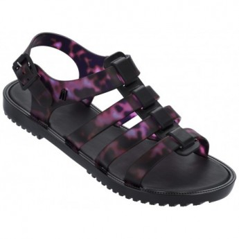 FLOX IV black fantasy print flat roman sandals for woman