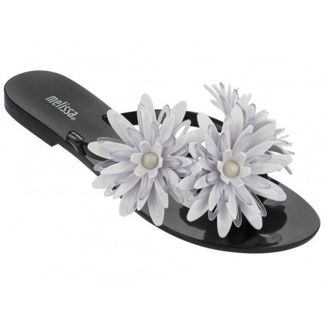 HARMONIC GARDEN III black and white flat finger flip flops for woman