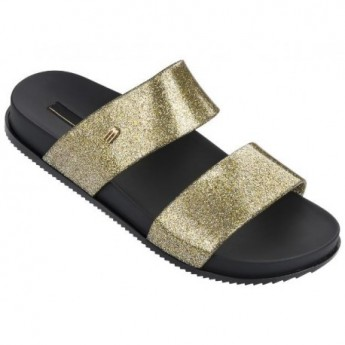 COSMIC black and gold flat open sandals for woman