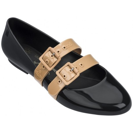 DOLL beige and black flat ballet flats for woman
