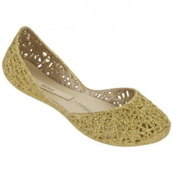 CAMPANA ZIG ZAG III gold flat ballet flats for girl