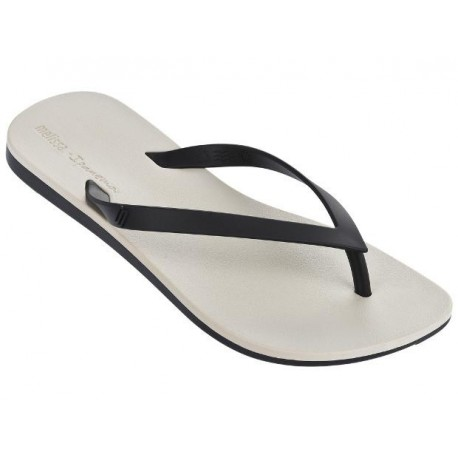 MELISSA + IPANEMA beige and black flat finger sandals for woman