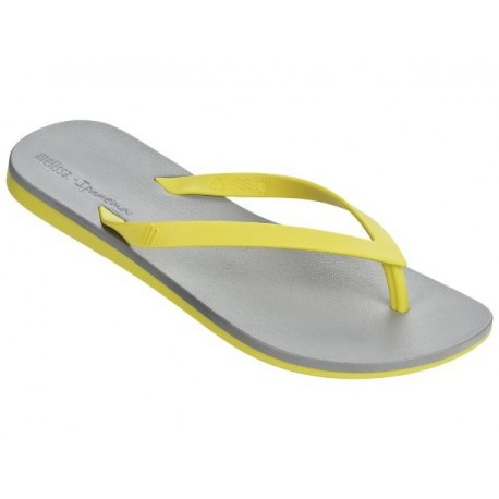 MELISSA + IPANEMA grey and yellow flat finger sandals for woman