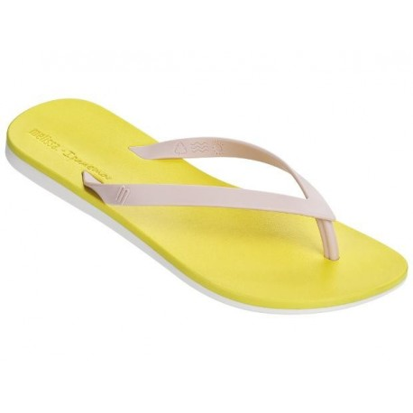 MELISSA + IPANEMA pink and yellow flat finger sandals for woman