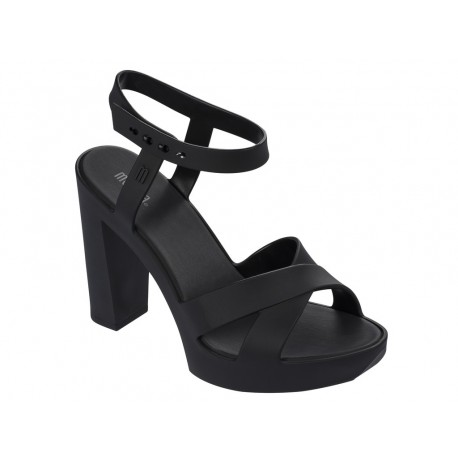 CLASSIC LADY black with heel open sandals for woman