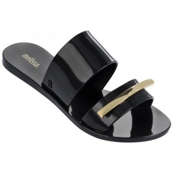 WONDERFUL II black and gold flat open sandals for woman