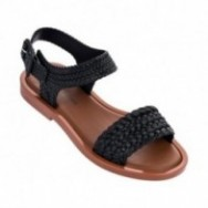 MAR SANDAL + SALINAS black and brown flat open sandals for woman