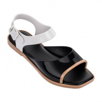 CRUSH beige and black flat sandals for woman