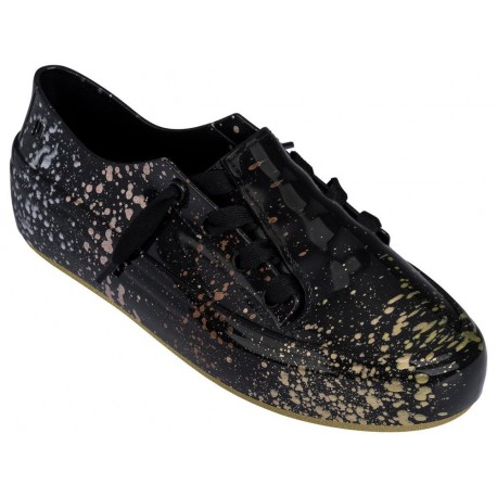 ULITSA SNEAKER SPLASH love match black and gold flat sneaker sneakers for woman