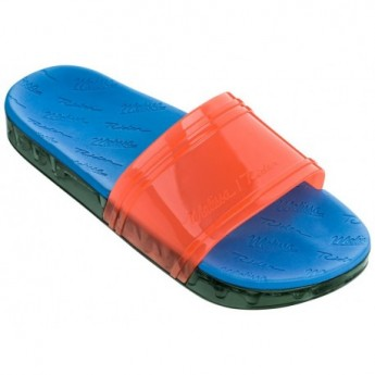 SLIDE + RIDER love match blue and green flat open flip flops for woman