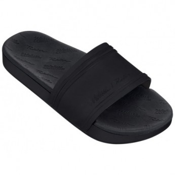 SLIDE + RIDER love match black flat open flip flops for woman