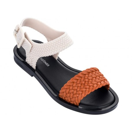 MAR SANDAL + SALINAS black and orange flat open sandals for woman