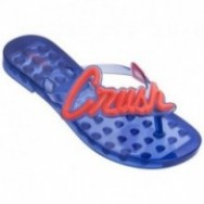 SUN CRUSH blue and orange flat finger flip flops for woman