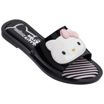 SLIPPER + HELLO KITTY hello kitty black and white flat open flip flops for woman