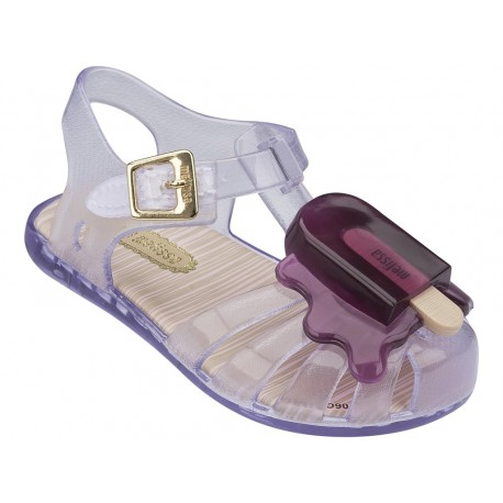 ARANHA VIII purple and transparent flat crab sandals for baby