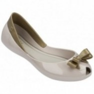 QUEEN beige and gold flat closed ballet flats for girl
