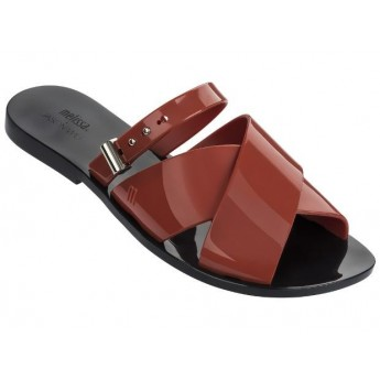 DIANE + JASON WU jason wu black and brown flat open sandals for woman
