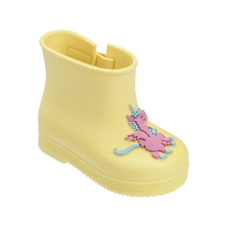 available new york detailed images Mini Melissa BOOT vivienne westwood yellow fantasy print closed ...
