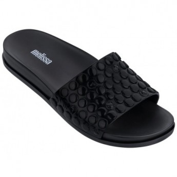 POLIBOLHA black flat shovel flip flops for woman