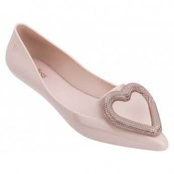 POINTY HEART pink flat ballet flats for woman