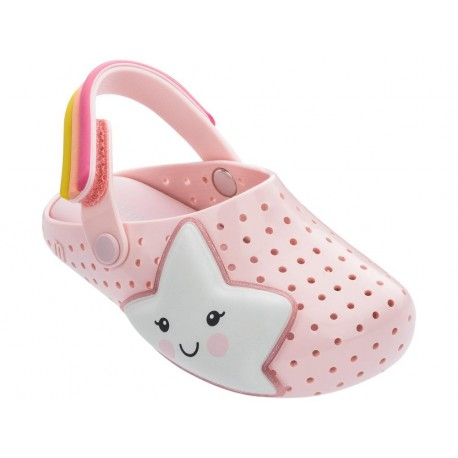FURADINHA BABOUCHE SWEET DREAMS pink fantasy print flat open clogs for baby