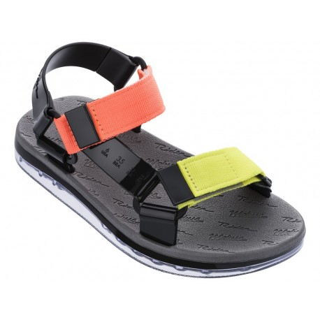 PAPETE + RIDER black flat roman sandals for woman