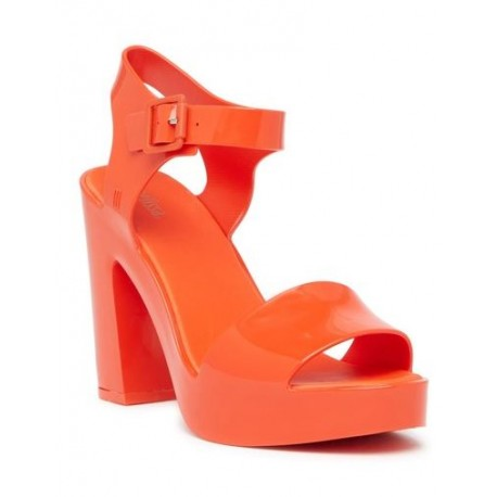 MAR HEEL orange with heel open sandals for woman