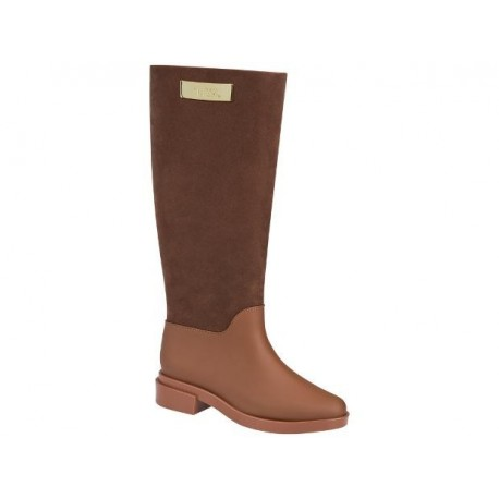 LONG BOOT FLOCKED brown with heel closed boots for woman