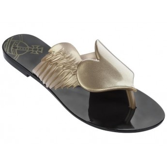 HARMONIC III vivienne westwood black flat open flip flops for woman