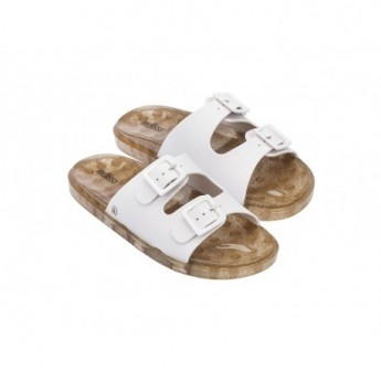 WIDE white flat shovel sandals for woman