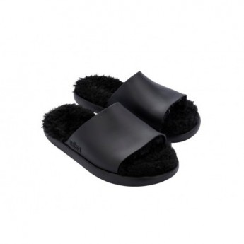 FLUFFY black flat open sandals for woman