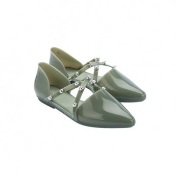 POINTY STRIPE green flat ballet flats for woman