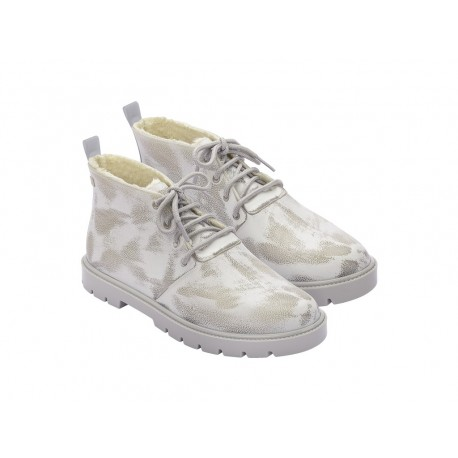 FLUFFY BOOT white flat closed boots for woman