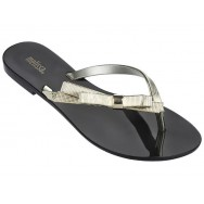 HARMONIC CHROME black and gold flat finger sandals for woman