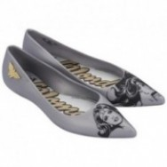 GLAM + WONDER WOMAN black and silver fantasy print flat closed ballet flats for woman